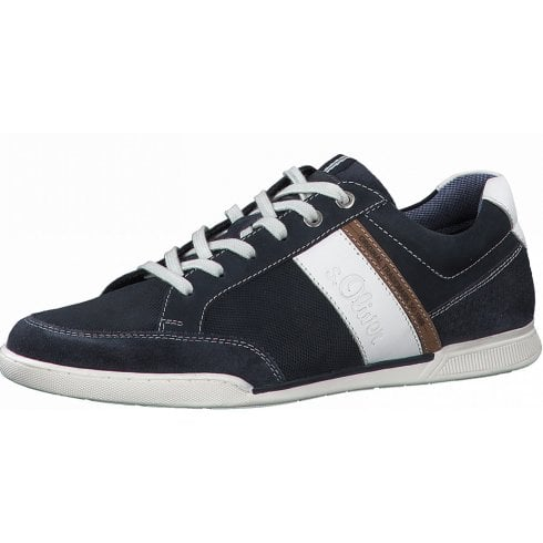 S Oliver Mens Navy Leather Casual Trainers
