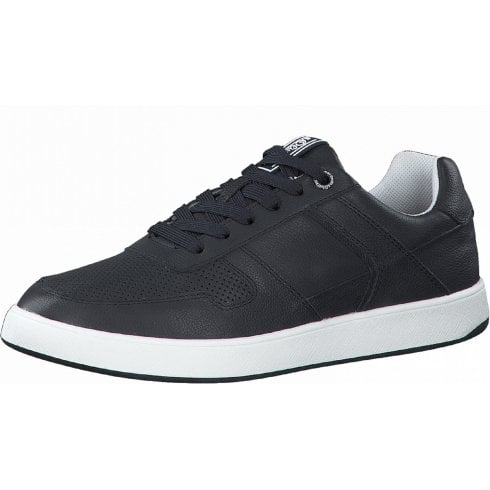 S Oliver Mens Navy Leather Lace Up Trainers