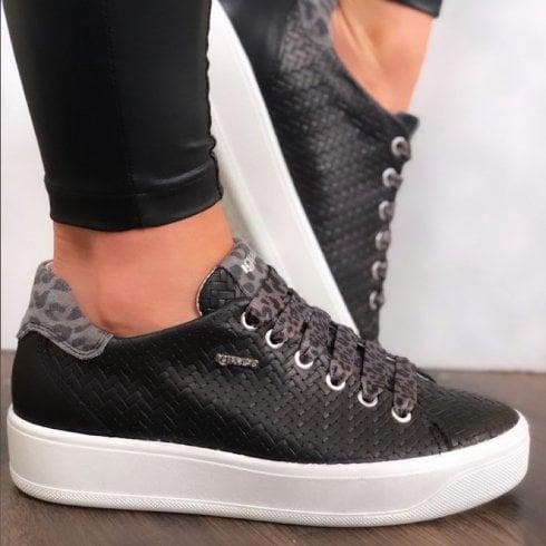 IGI & CO Igi&Co Ladies Black Textured Design Trainer