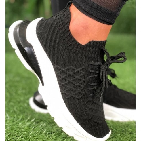 Drilleys Ladies Fly Stealth Black Knit Chunky Trainers