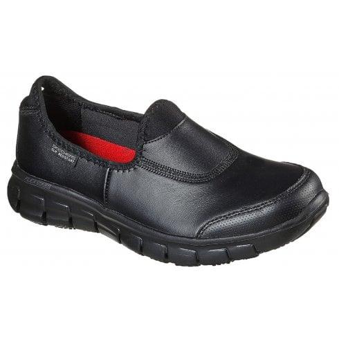Skechers Ladies Sure Track Black Slip On Shoes