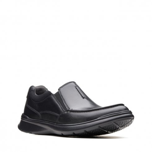 Clarks Mens Cotrell Free Black Smooth Leather Casual Slip On Shoes