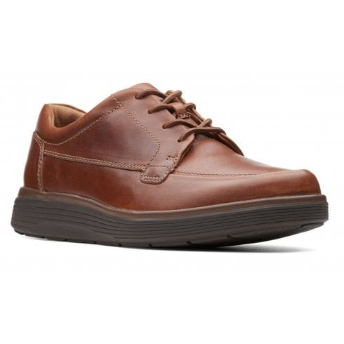 Clarks Un Abode Dark Tan Leather Mens Casual Shoes