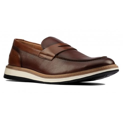 Clarks Mens Chantry Penny Tan Leather Slip on Shoe