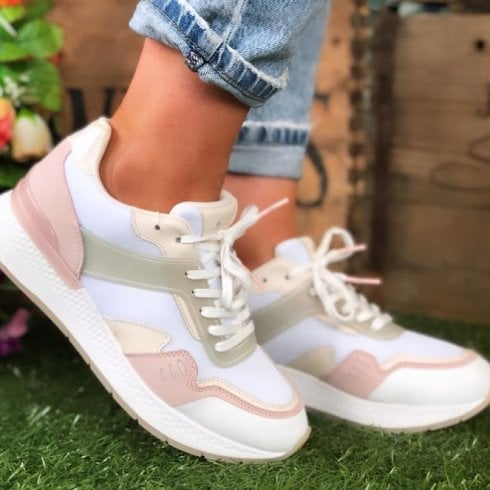 Tamaris Ladies White Mint and Pink Trainers
