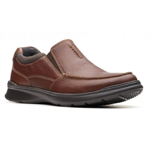 Clarks Mens Cotrell Free Tobacco Brown Leather Casual Slip On Shoes