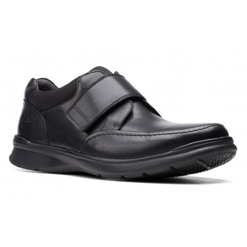 Clarks Mens Cotrell Strap Black Leather Casual Shoes