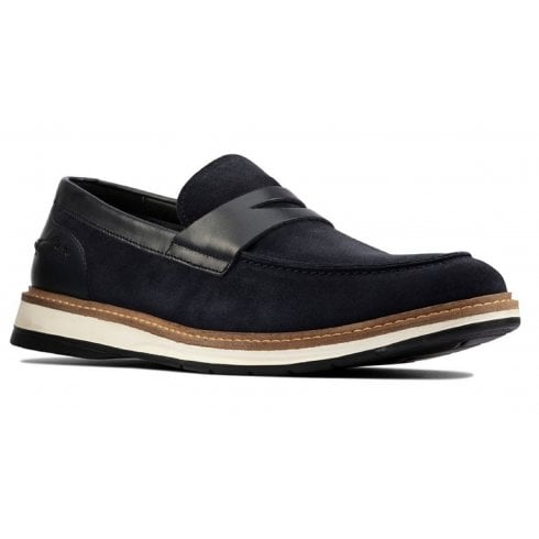 Clarks Mens Chantry Penny Navy Suede Slip on Shoe