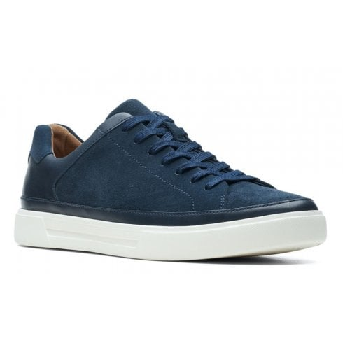 Clarks Mens Un Costa Tie Navy Suede and Leather Trainers