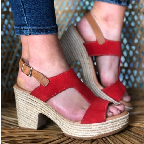 Oh My Sandals Oh! My Sandals Red Block Heeled Sandals