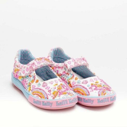Lelli Kelly Dorothy White Unicorn Rainbow Dolly Shoe