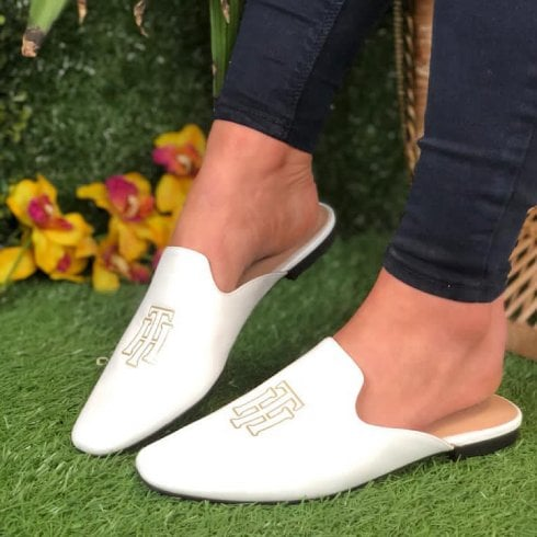 Tommy Hilfiger Ladies White Leather Flat Mule Sandals
