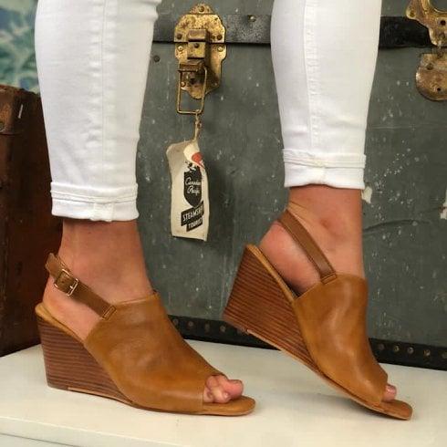 Lunar Ladies Ismay Tan Leather Wedged Sandal