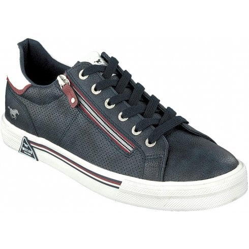 Mustang Mens Navy Leather Perforated Trainers