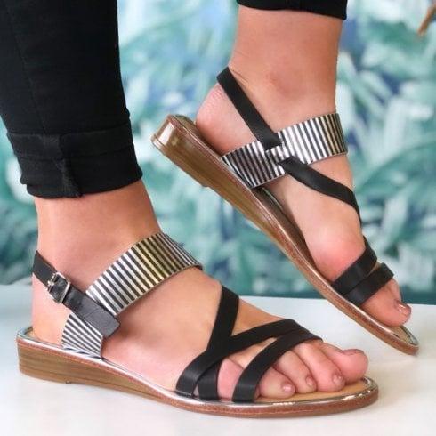 Lunar Ladies Zeta Black Zebra Print Flat Sandal
