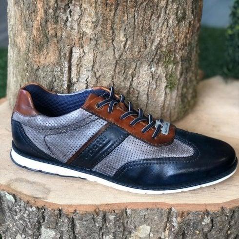 Bugatti Mens Silvan Navy Grey and Tan Casual Lace-up Shoe