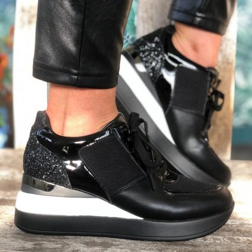 Una Healy Ladies Out There Black Glitter Trainer