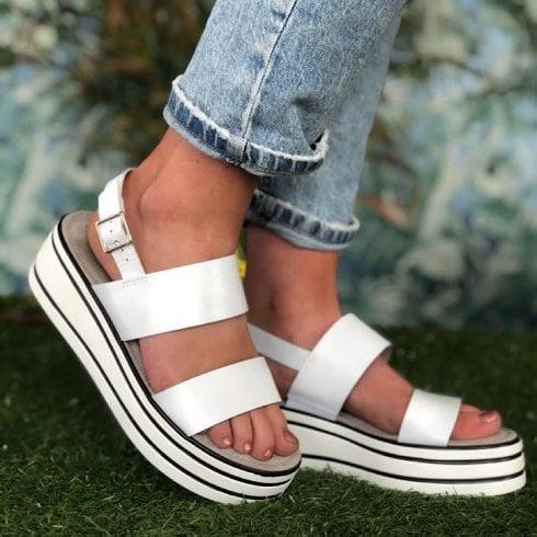 Tamaris Ladies White and Black Stripe Wedged Sandal