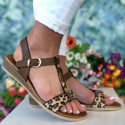 Susst Ladies Tan and Leopard Print Sandals