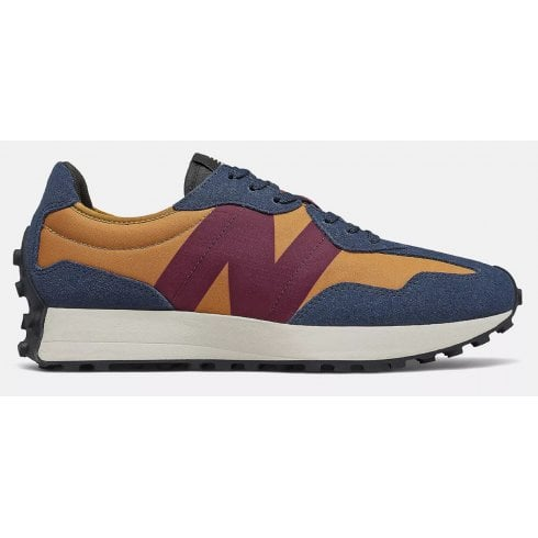 New Balance Mens 327 Lifestyle Maroon Navy and Mustard Trainers