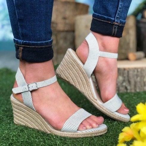 Tamaris Ladies Denim Stripes Wedged Heel Sandal