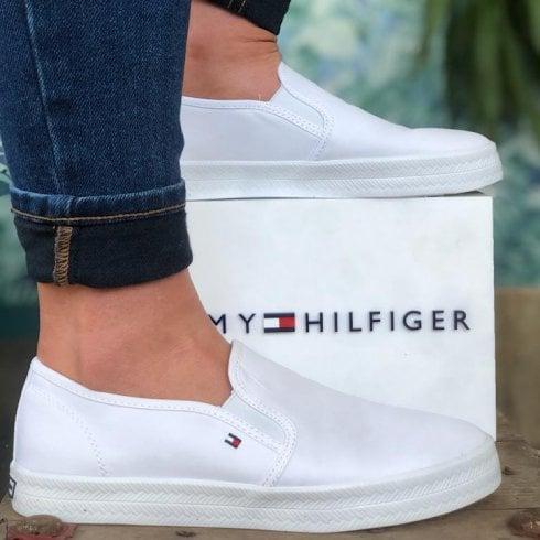 Tommy Hilfiger Ladies Nautical White Slip On Trainer