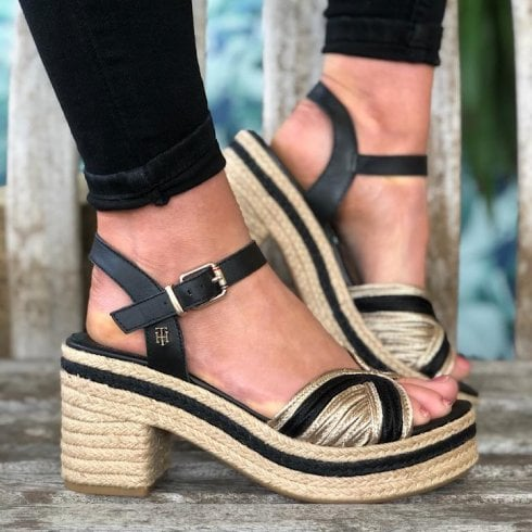 Tommy Hilfiger Ladies Black Artisanal Heeled Sandals