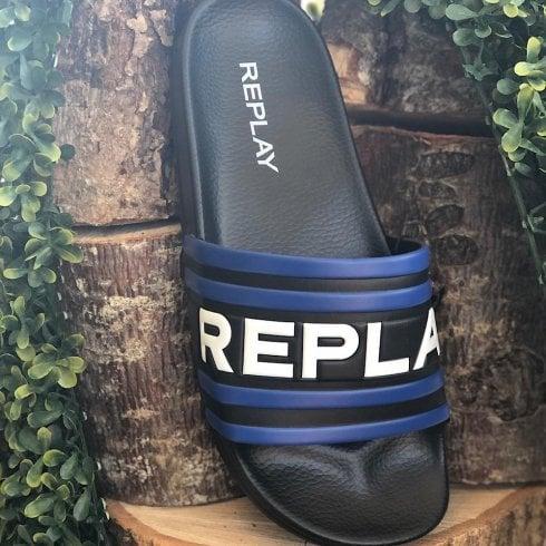 Replay Mens Westford Blue and Black Logo Sliders