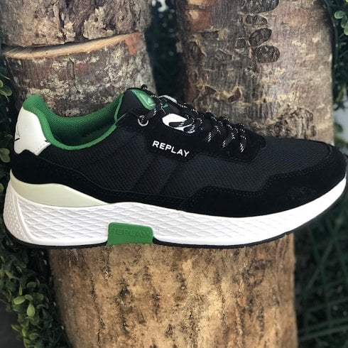 Replay Mens Classic Check Black/Green Trainers