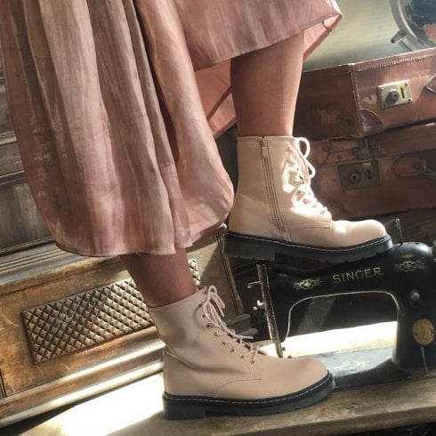 Drilleys Bumble Blush Pink Lace Up Boot