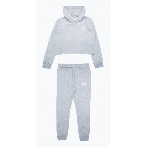 Hype Girls Grey Cropped Hoodie and Jogger Set