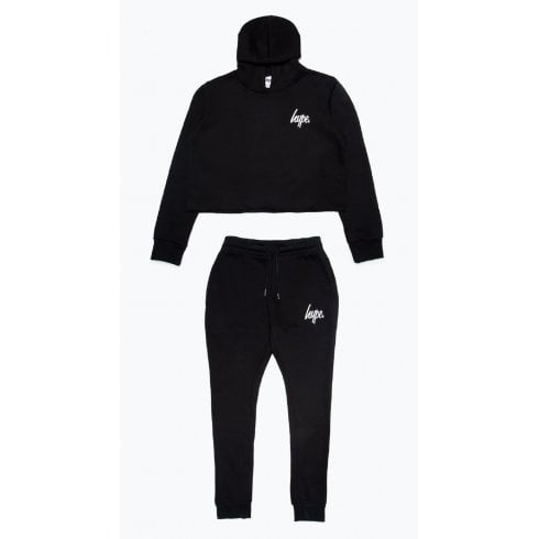 Hype Girls Black Cropped Hoodie and Jogger Set