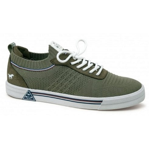 Mustang Mens Olive Green Knit Slip On Trainer