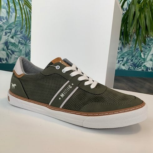 Mustang Mens Olive Green Tan Casual Lace Up Trainer