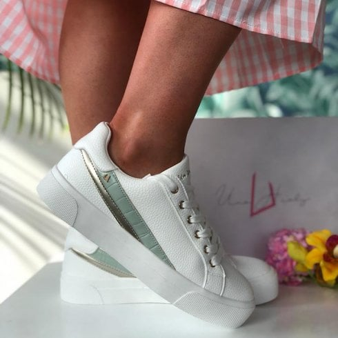 Una Healy Ladies Lonely One Mint Strip White Trainers