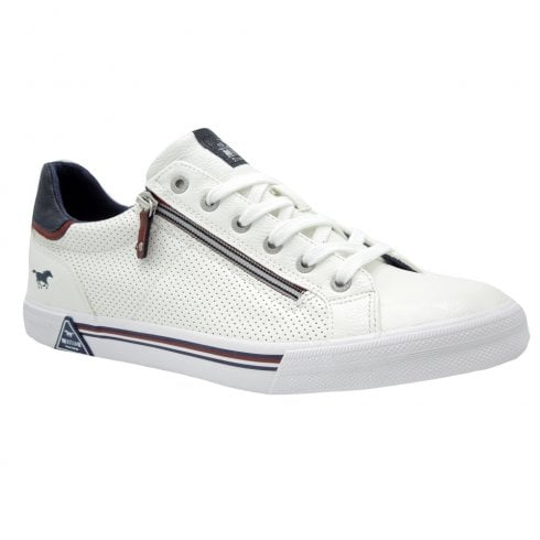 Mustang Mens White Leather Perforated Trainers