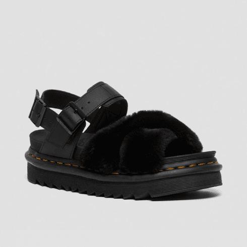 Dr. Martens Dr Martens Ladies Voss Black Faux Fur Leather Sandals