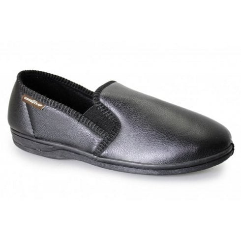 Goodyear Mens Trent Black Faux Leather Slipper