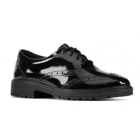 Clarks Loxham Brogue Black Patent 'F' Fit Shoes