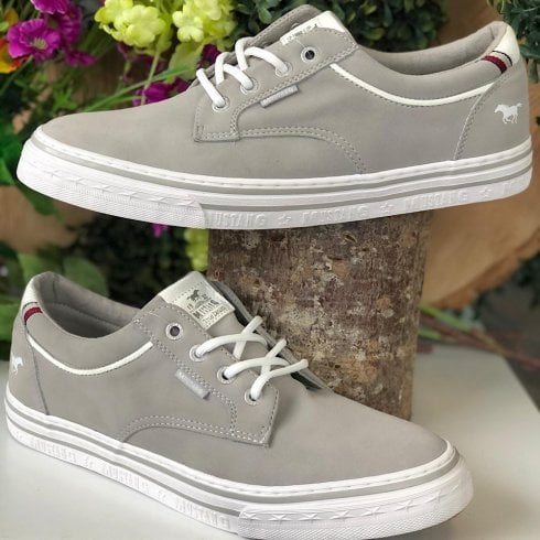 Mustang Mens Grey Suede Lace Up Trainers