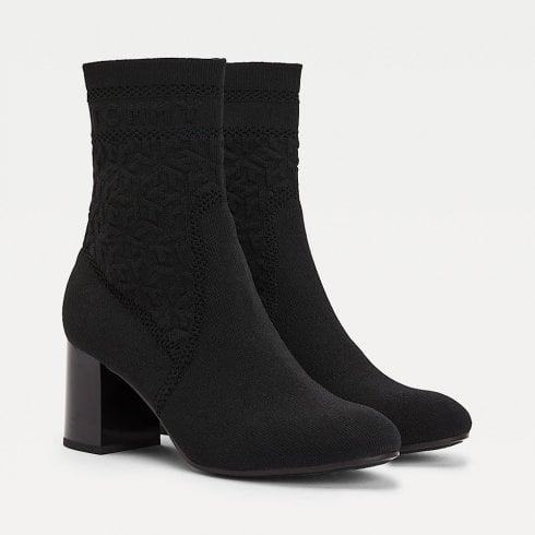 Tommy Hilfiger Ladies Black Knitted Mid Heel Boot