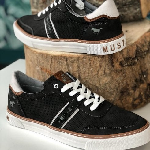 Mustang Mens Slate Grey Tan Casual Lace Up Trainer