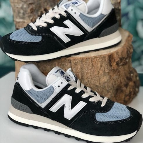 New Balance Mens 574 Black with Reflection Sneakers