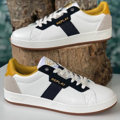 Replay Mens Classic Cap White Navy & Yellow Leather Trainers