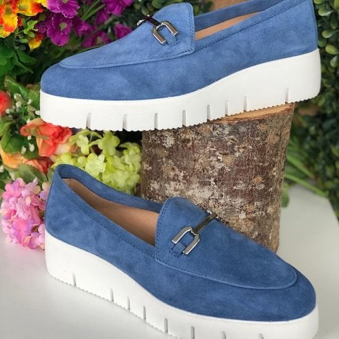 Unisa Ladies Famo Blue Suede Wedged Loafer