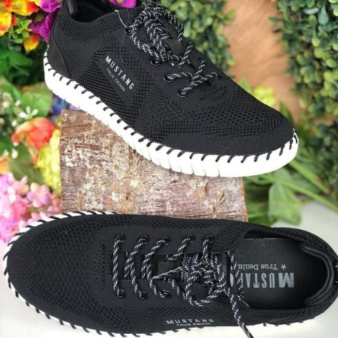 Mustang Ladies Black Knit Chunky Sole Trainer