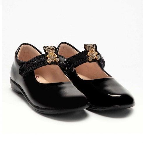 Lelli Kelly Girls Fuzzy - Black Patent School Shoes