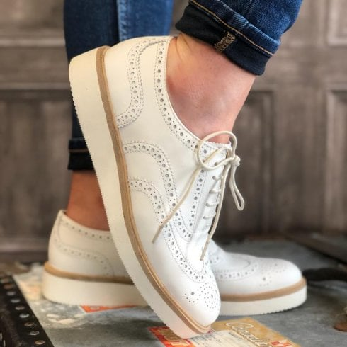 Clarks Ladies Baille White Leather Brogues