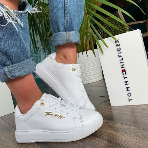 Tommy Hilfiger Ladies White Signature Leather Sneakers