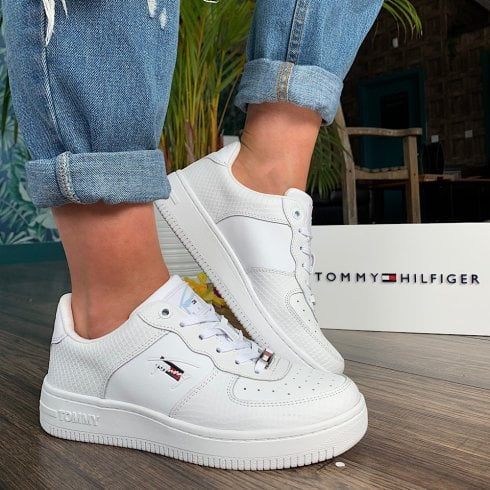 Tommy Hilfiger Ladies Textured Leather Basket Trainers